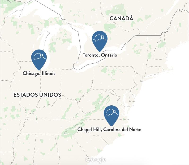 Mapa con las tres ubicaciones del estudio SUMMIT