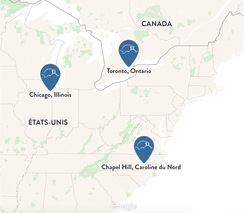 Carte avec les trois localisations de l'étude SUMMIT